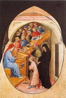 7_Nicolo_di_Pietro._1413-15._The_Saint_Augustine_Taken_to_School_by_Saint_Monica._Pinacoteca,_Vatican.